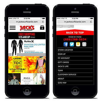 Jack's Surfboards Mobile Site  Our Work E-Commerce